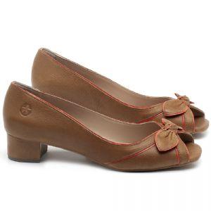 Peep Toe Salto Baixo em couro Conhaque - Código - 3473
