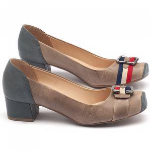 Sapato Fechado Estilo Foucinho de porco de 4cm em couro Azul com Marrom - Código - 9407