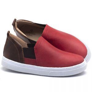 Tênis Cano Baixo em couro Vermelho Coral e Marrom Tan - Código - 9447