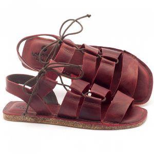 Rasteira Flat em couro vermelho - Código - 141046