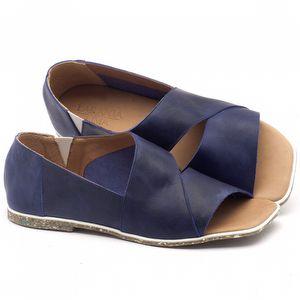 Rasteira Flat em couro azul - Código - 145022