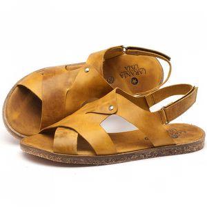 Rasteira Flat em couro amarelo - Código - 141057