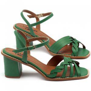 Sandália Salto médio de 6cm em couro verde - Código - 3555