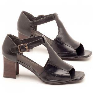 Sandália Salto de 6,5cm em couro Preto - Código - 56169