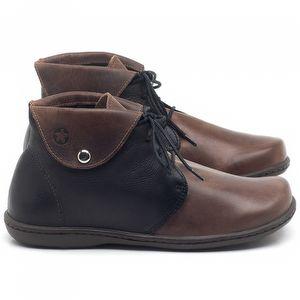 Flat Boot em couro Telha com Preto - Código - 56126
