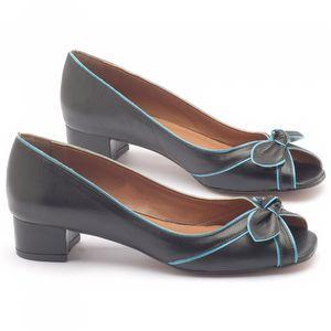 Peep Toe Salto Medio de 4cm em couro preto com tuquesa - Código - 3473
