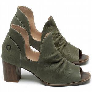 Sandália Salto Em couro Verde Musgo - Código - 3705