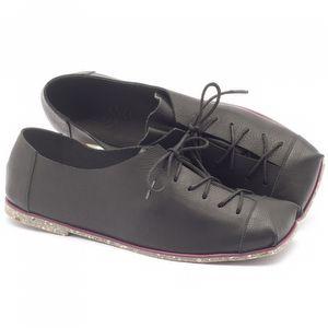 Sapato Fechado Estilo Boho-Chic em couro preto - Código - 145010