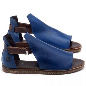 Rasteira Flat em couro azul - CÓDIGO - 141040