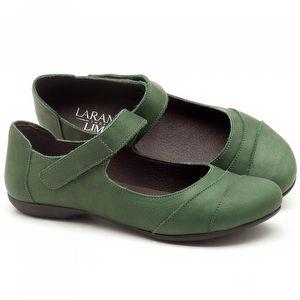 Sapatilha Bico Fechado em couro Verde Militar - Código - 148002