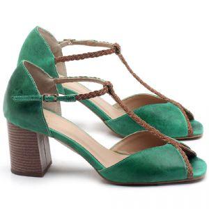 Sandália Salto Médio de 6cm em couro Verde Bandeira - Código - 3596