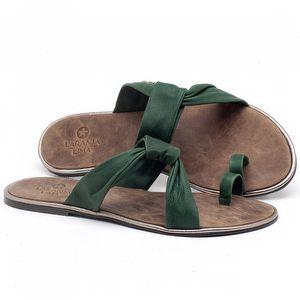 Rasteira Flat em couro Verde Bandeira - Código - 3655