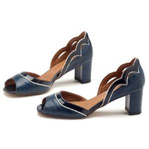 Peep Toe Salto Medio de 6 cm Azul Marinho 3386