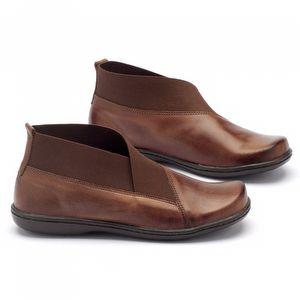 Flat Boot em couro caramelo - Código - 56086