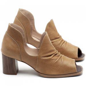 Sandália Salto Médio de 6cm em couro Conhaque - Código - 3705