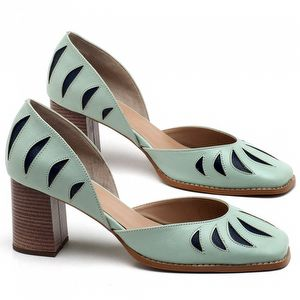 Scarpin Salto Médio em couro Verde Neo Mint - Código - 3613