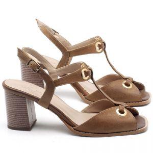 Sandália Salto Médio de 6cm em couro Conhaque - Código - 3660