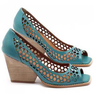 Peep Toe Salto Medio de 6cm em couro azul turquesa - Código - 3498