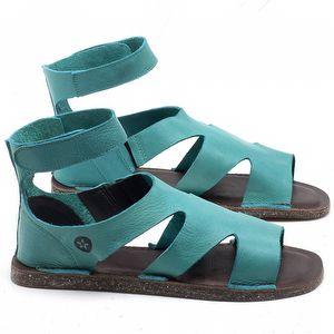 Rasteira Flat em couro Azul Piscina - Código - 141096