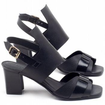 Sandália Salto Médio de 6cm em couro Preto - Código - 56178