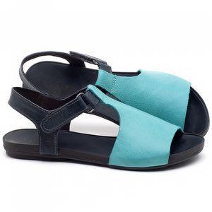 Rasteira Flat em couro Azul Piscina com Marinho - Código - 137177