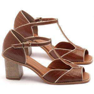 Sandália Salto médio de 6cm em couro havana - Código - 3523