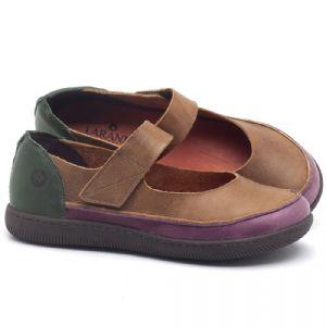 Flat Shoes em couro conhaque, verde e açai - CÓDIGO - 137233