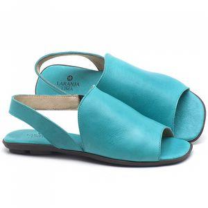 Rasteira Flat em couro Azul Piscina - Código - 9459
