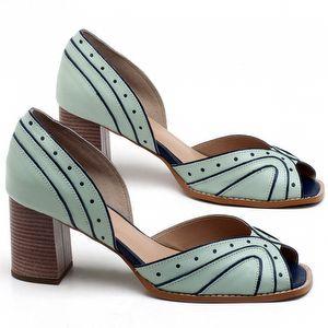 Sandália Salto de 7cm em couro Azul Claro - Código - 3633