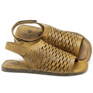 Rasteira Flat em couro Amarelo - Código - 141106