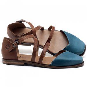 Sapatilha Alternativa em couro Azul Celeste com Camel - Código - 136086
