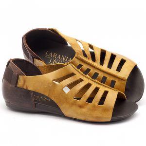 Rasteira Flat em couro marrom com amarelo - Código - 137007
