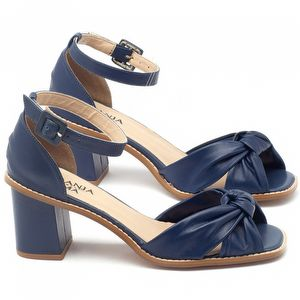 Sandália Salto médio de 6cm em couro azul marinho - Código - 3556