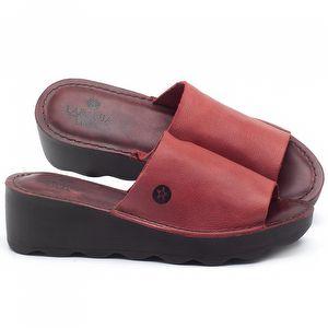 Anabela Tratorada em couro Vermelho Coral - Código - 141117