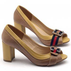 Peep Toe Salto Medio de 7cm em couro - Código - 9403