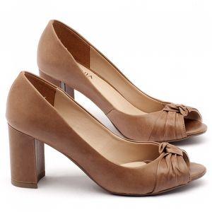 Peep Toe Salto Medio salto médio de 7cm em couro caramelo - Código - 9401