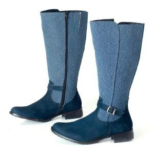 Bota Cano longo Azul Camurça / Textil 106013