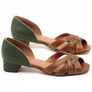 Sandália Salto de 4cm em couro Verde Militar com Caramelo - Código - 3597