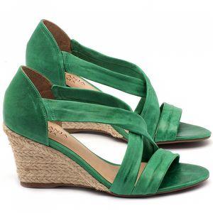 Anabela Corda com salto de 8cm em couro verde - Código - 9422