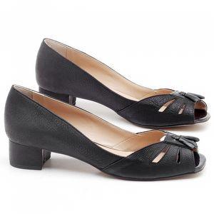 Peep Toe Salto Baixo de 4cm em couro Preto - Código - 3637