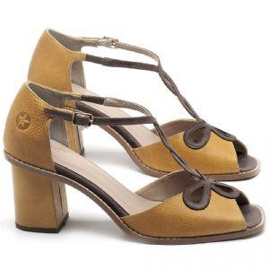 Sandália Salto Médio de 6cm em couro Amarelo Citrus - Código - 3598