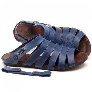 Rasteira Flat em couro Azul Bic - Código - 137196