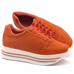 Tênis Cano Baixo em couro laranja - Código - 99056