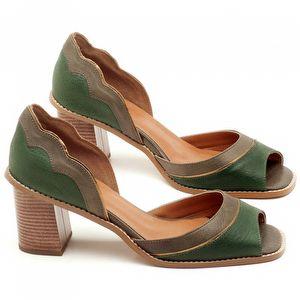 Sandália Salto de 6cm em couro Musgo e Verde Militar - Código - 3569