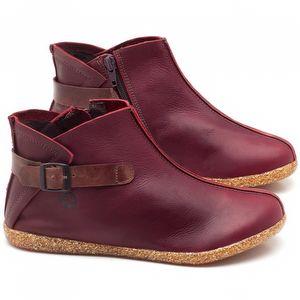 Flat Boot em couro vermelho vinho - Código - 137144