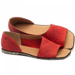 Rasteira Flat em couro vermelho com palmilha em couro - Código - 145013
