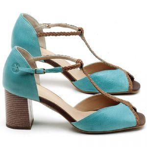 Sandália Salto em couro Azul Piscina - Código - 3596
