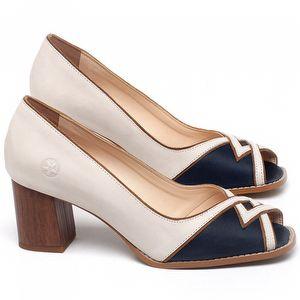 Peep Toe Salto Medio de 6cm em couro Off-white com Azul Marinho - Código - 3717