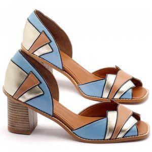 Sandália Salto medio de 7cm em couro - Código - 3534