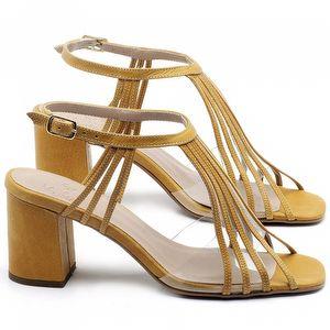 Sandália Salto Médio de 6cm em couro Amarelo - Código - 3557